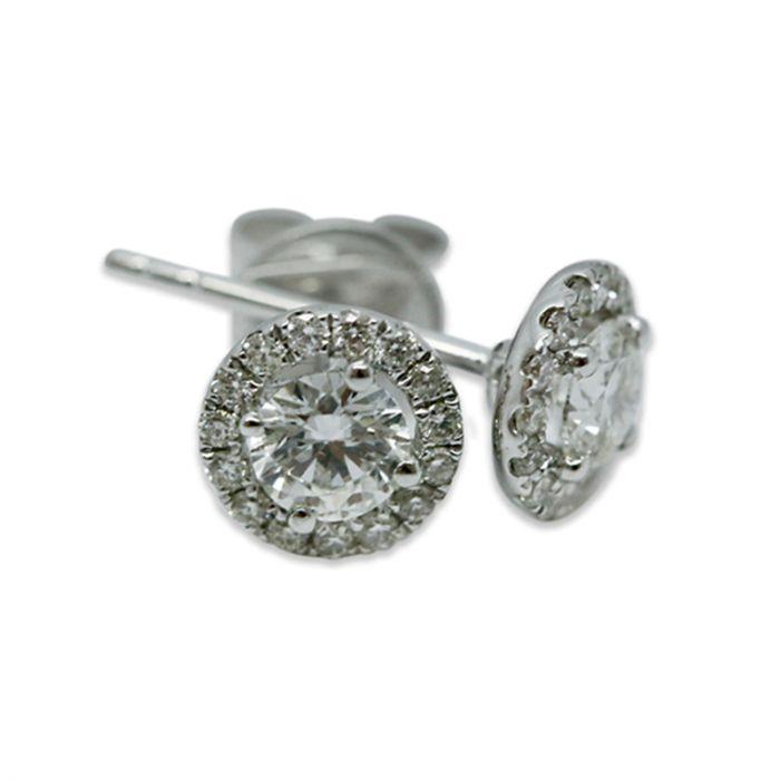 18k White Gold 1ct Total Round Halo Setting Diamond Earring Studs