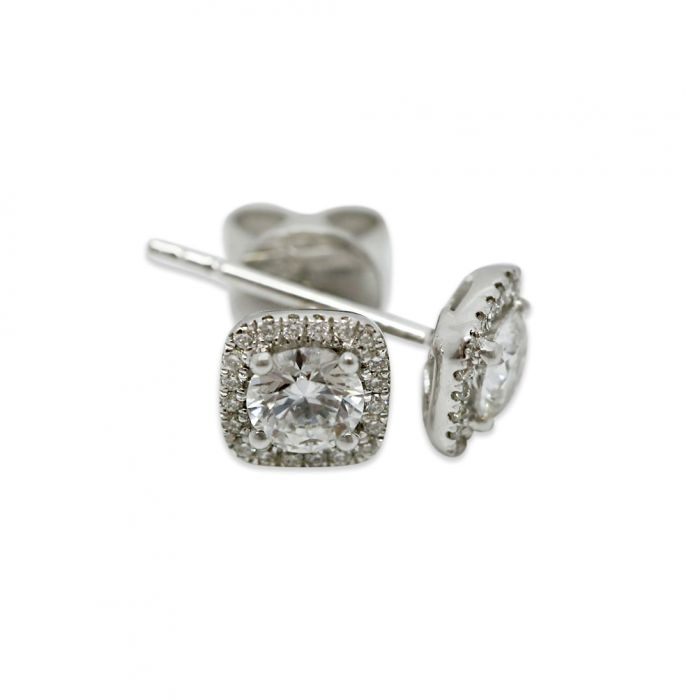 18k White Gold 0.30ct Total Square Halo Setting Diamond Earring Studs