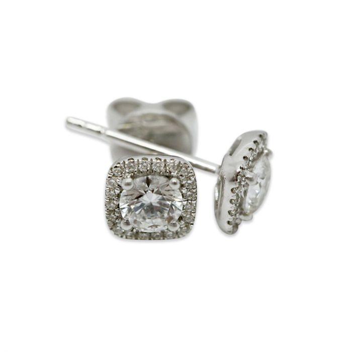 18k White Gold 0.50ct Total Square Halo Setting Diamond Earring Studs