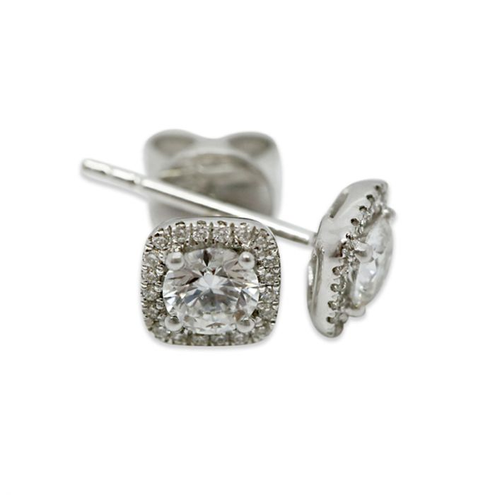 18k White Gold 0.70ct Total Square Halo Setting Diamond Earring Studs