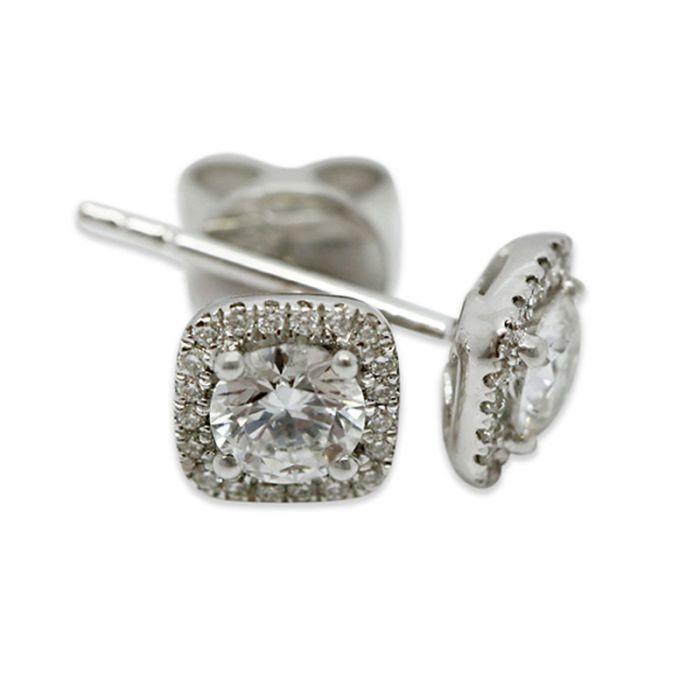 18k White Gold 1ct Total Square Halo Setting Diamond Earring Studs