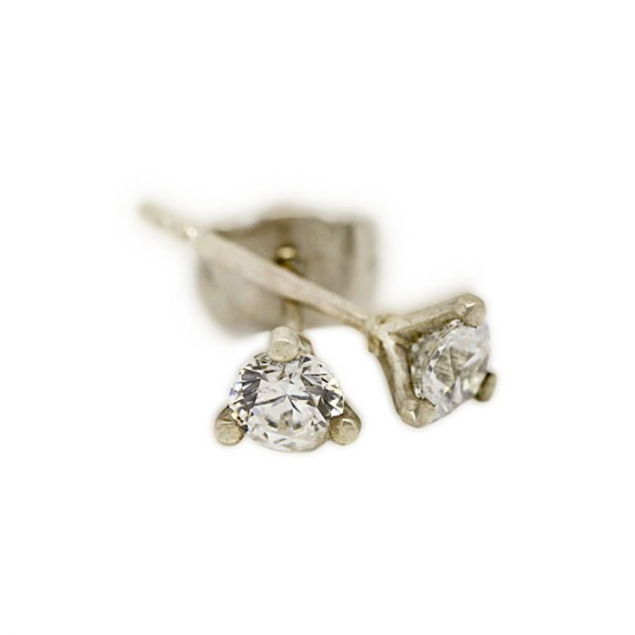 18k White Gold Three Claw 0.15ct Total Diamond Earring Studs
