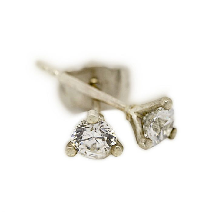 18k White Gold Three Claw 0.30ct Total Diamond Earring Studs