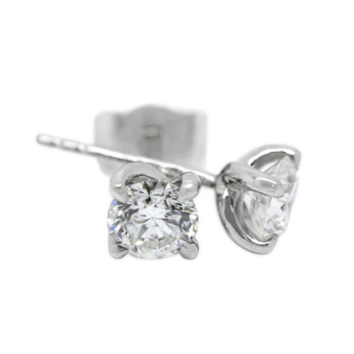 18k White Gold Four Claw Twist 0.70ct Total Diamond Earring Studs