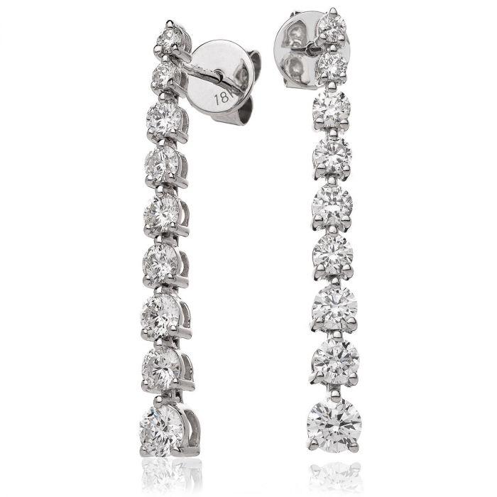 Spaced Diamond Drop Earrings