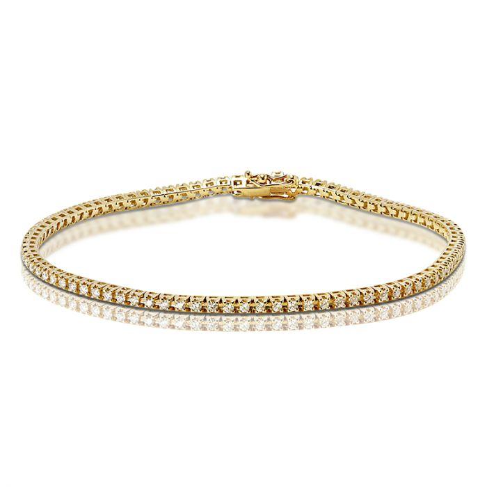 1 Carat Yellow Gold Diamond Tennis Bracelet