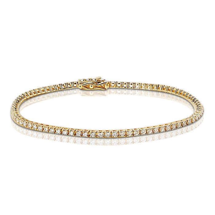 2 Carat Yellow Gold Diamond Tennis Bracelet