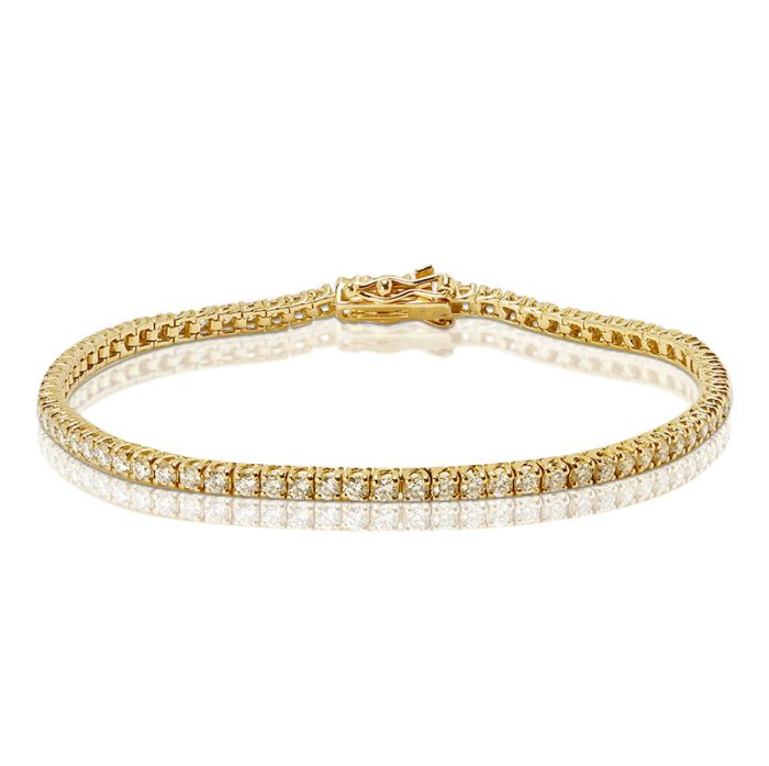 Yellow Gold 3 Carat Diamond Tennis Bracelet