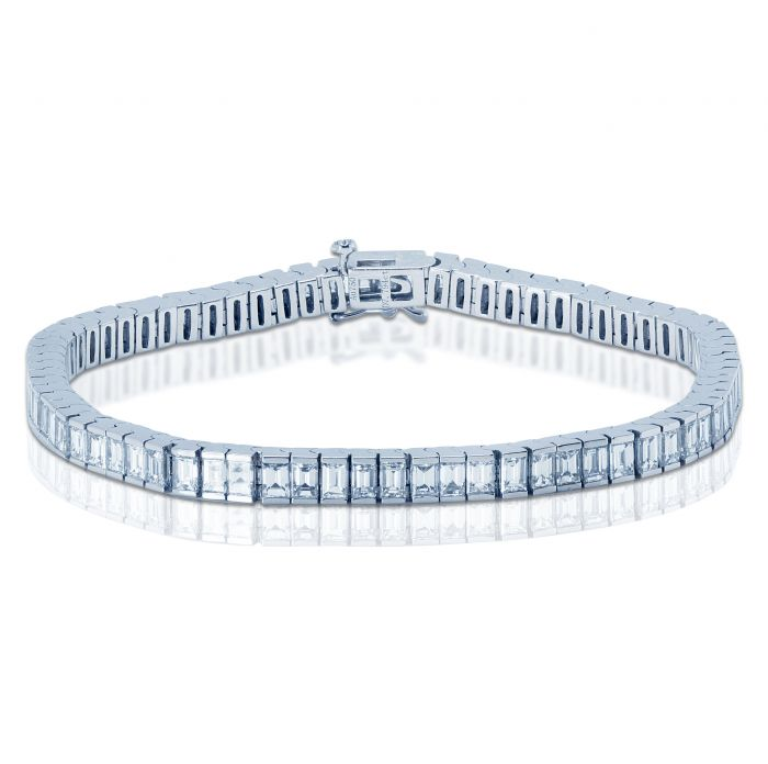 7 Carat Emerald Cut Diamond Tennis Bracelet