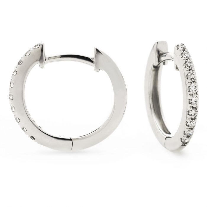 Micro Set Round Diamond Hoops Earrings