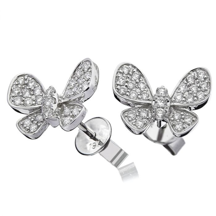 Butterfly Shape Diamond Earrings Studs