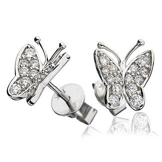 Butterfly Shape Pave Diamond Earrings Studs