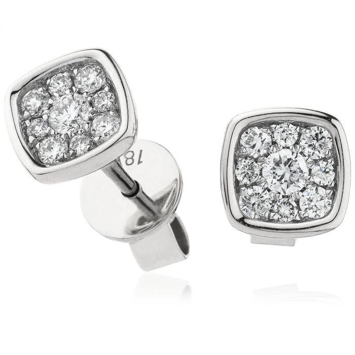 Cushion Set Diamond Earring Studs