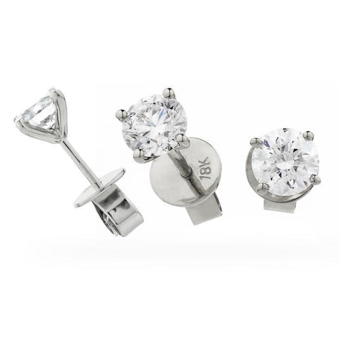 V Shape Claw Set Diamond Earrings Studs