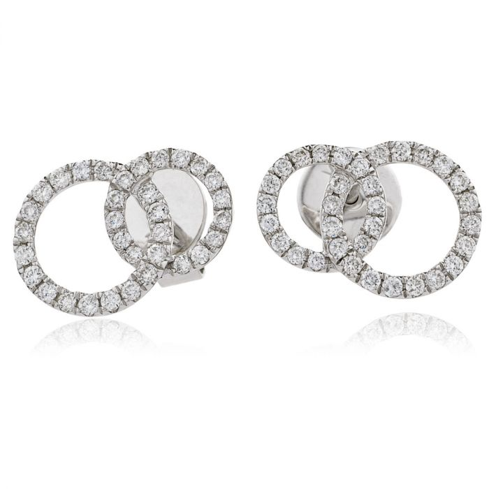 Fixed Double Circle Diamond Earring Studs