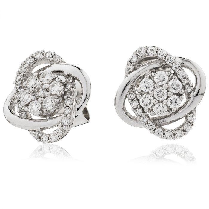 Swirl Cuts Diamond Earrings Studs