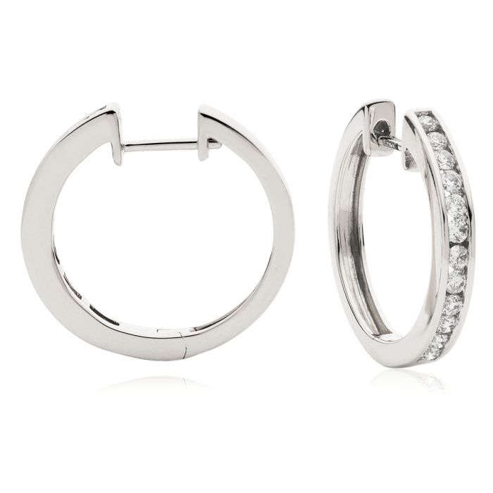 Channel Set Round Cuts Diamond Hoops Earrings