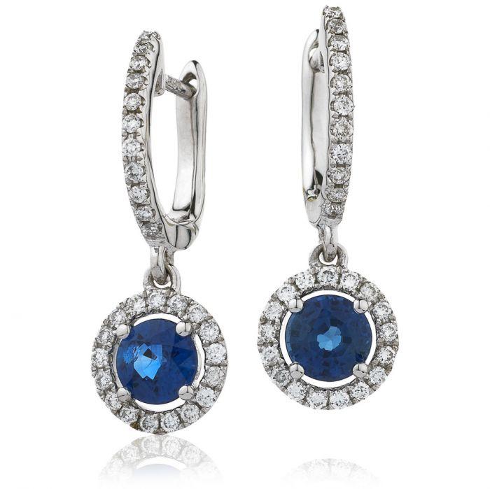 Blue Sapphire Halo Drop Hoops Diamond Earring