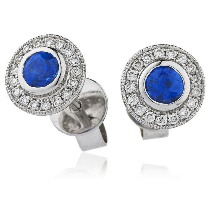 Blue Sapphire Grain Set Diamond Earring Studs