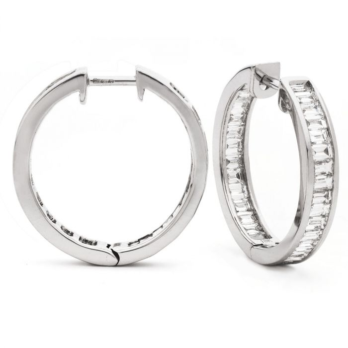 Baguette Cuts Channel Set Diamond Hoops Earring