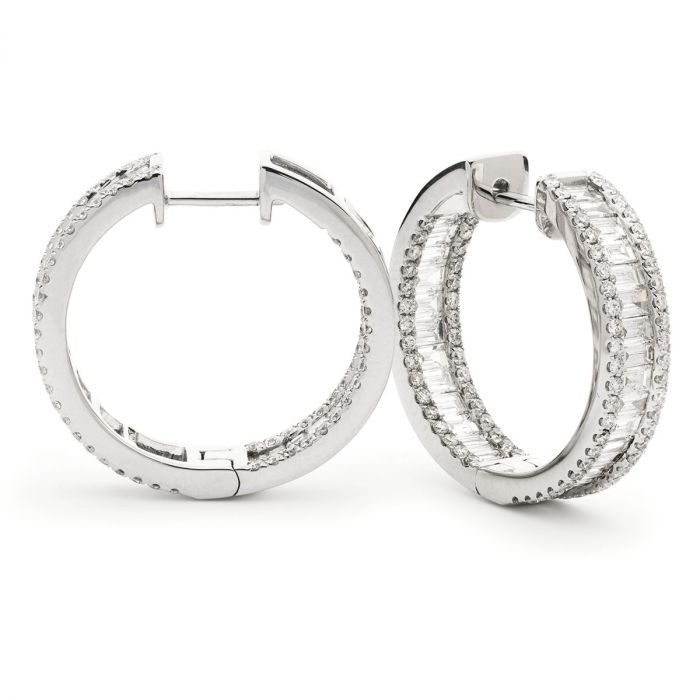 Baguette Cut In And Out Round Diamond Hoops Earrings