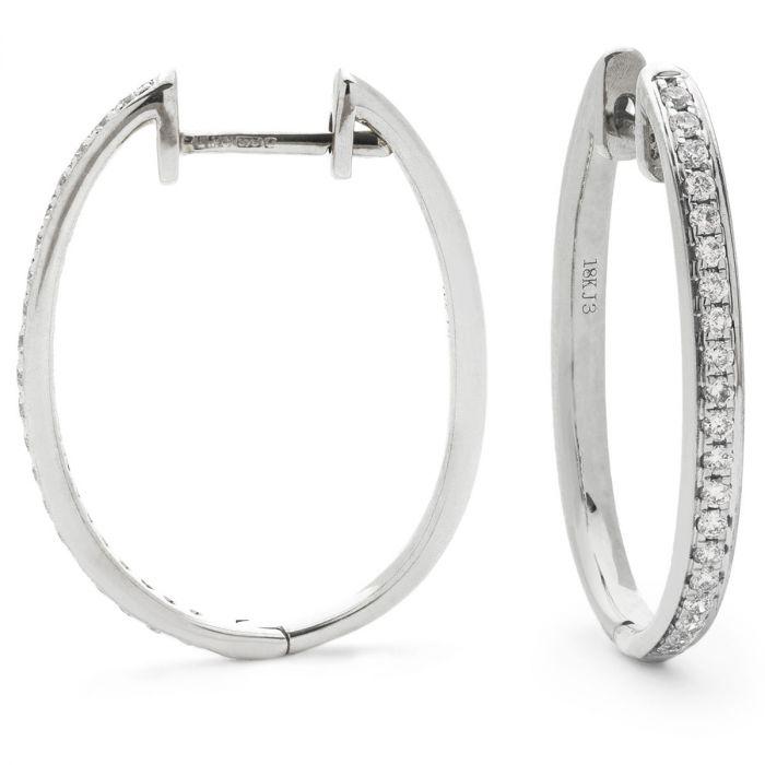 Grain Set Round Diamond Hoops Earrings