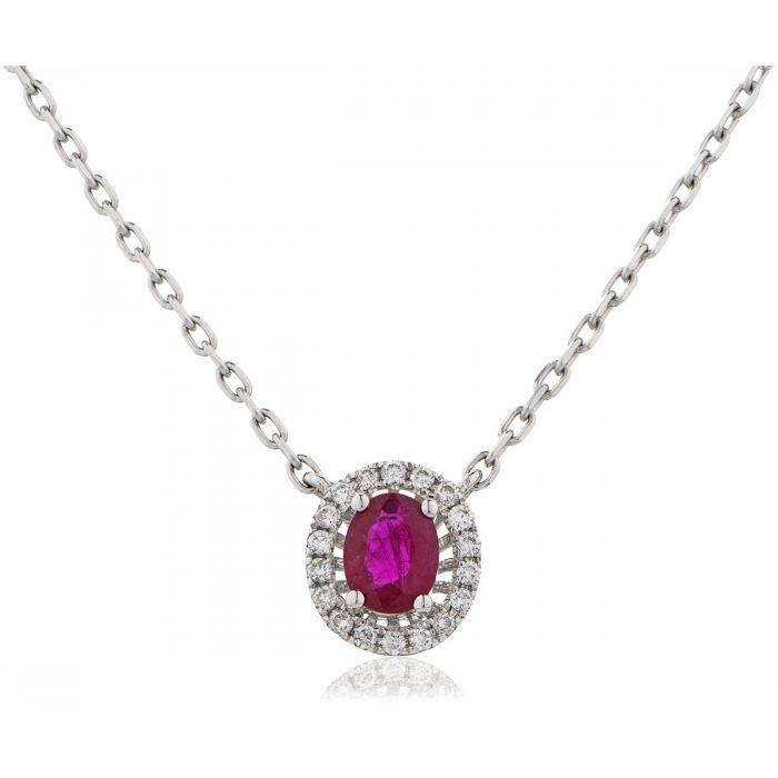 Oval Shaped Halo Ruby Diamond Necklace