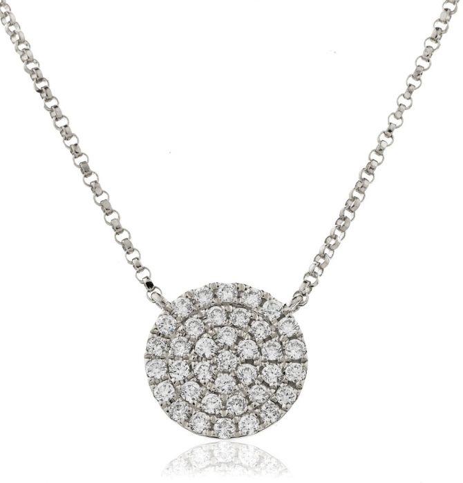 Pave Round Disk Diamond Necklace