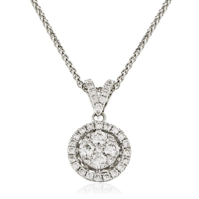 Split Bail Halo Pave Diamond Pendant