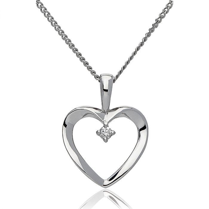 Heart Centre Set Pave Diamond Necklace