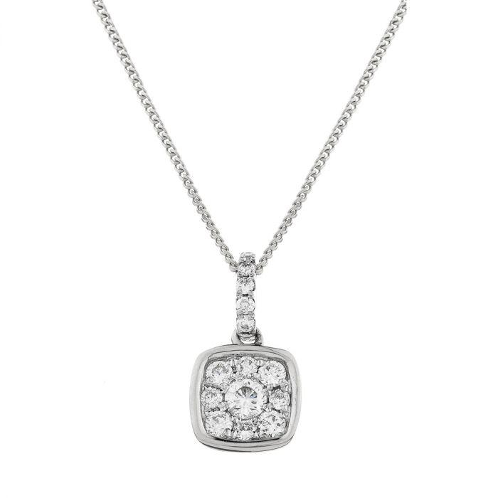 Cushion Shape Pave Diamond Necklace