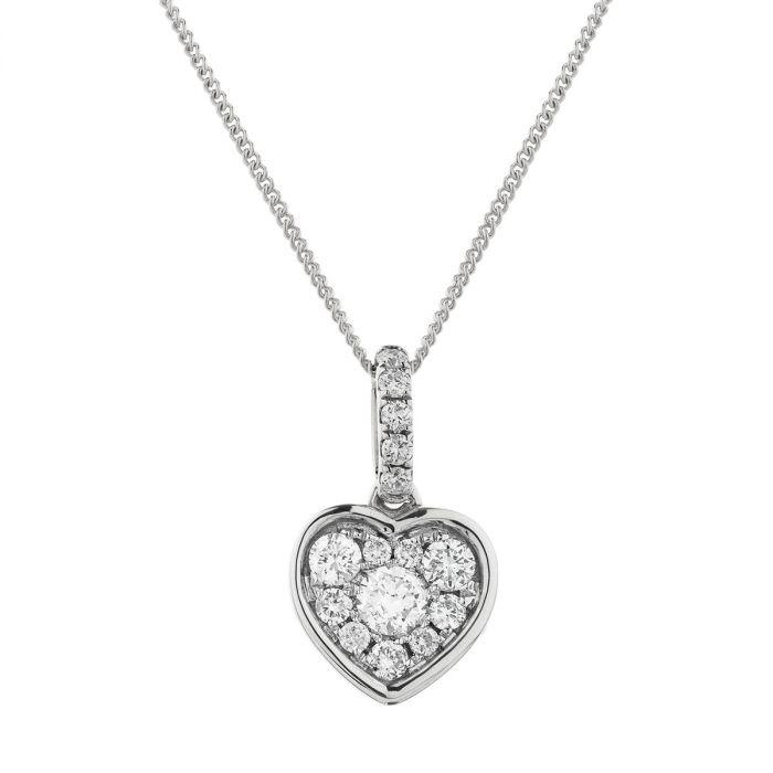 Heart Pave Diamond Necklace