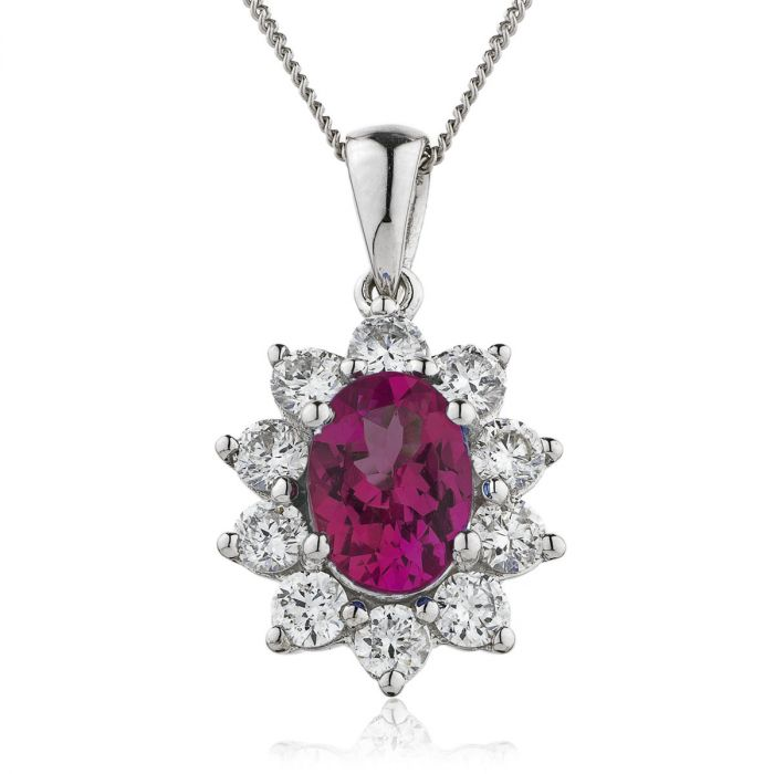 Oval 10 Stone Cluster Ruby Diamond Pendant