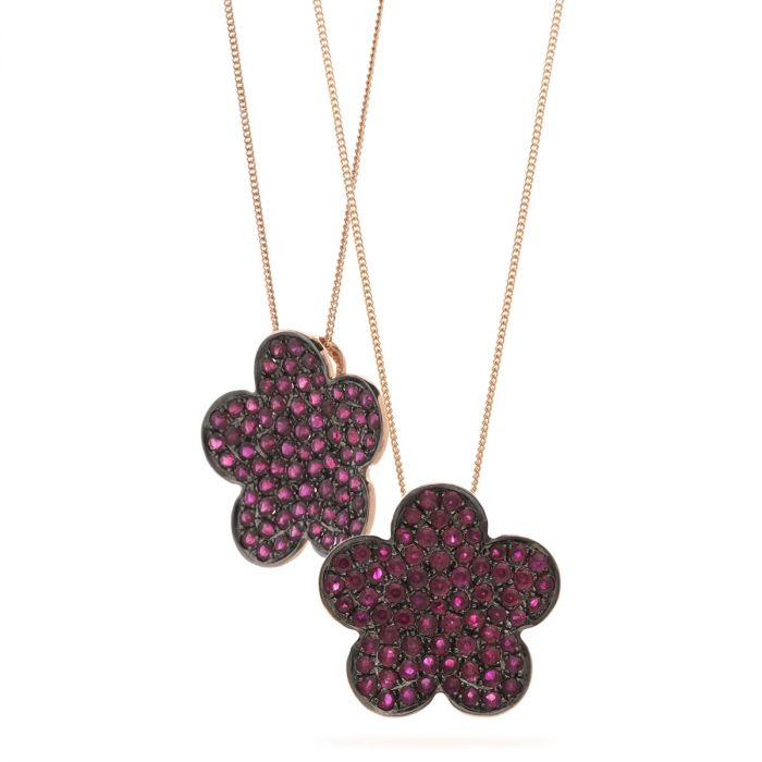5 Leaf Clover Pave Ruby Diamond Pendant