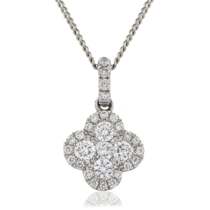 Clover Pave Diamond Necklace