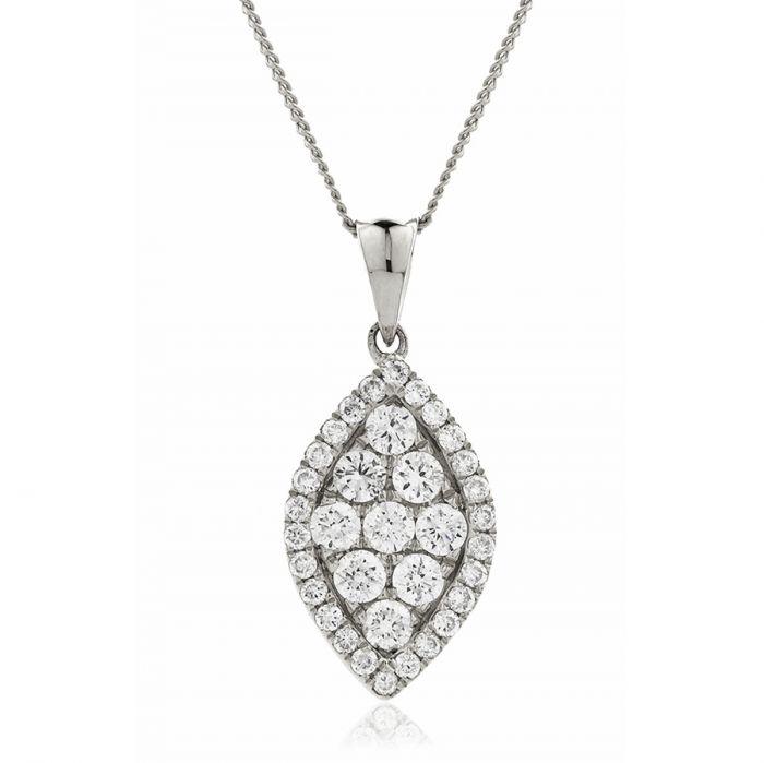 Leaf Shaped Medium Pave Diamond Pendant