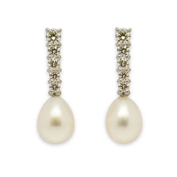 Diamonds and Pearl Drop Earring