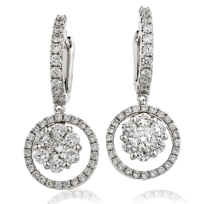 Outer Round Pave Drop Hoops Diamond Earring