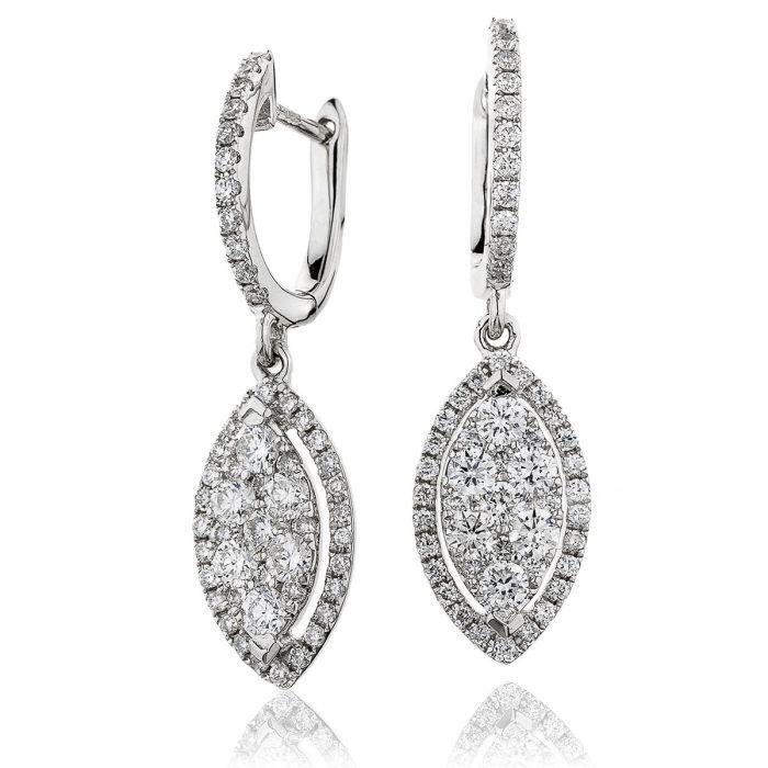 Leaf Shape Open Halo Pave Drop Hoops Diamond Earrings