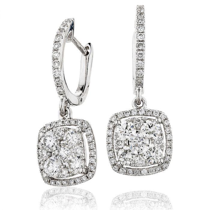 Pave Droop Hoops Diamonds Earrings