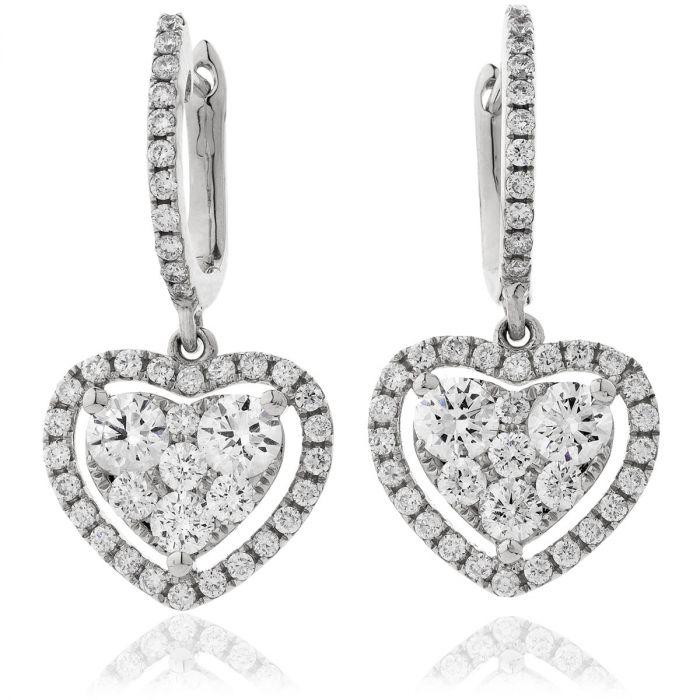 Heart Shape Open Halo Drop Hoops Diamond Earrings