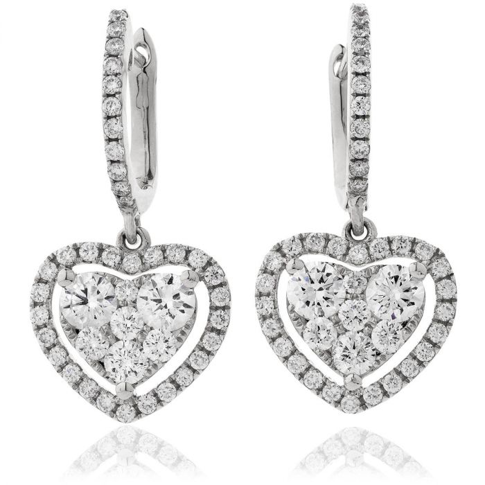 Heart Diamonds Drop Earrings