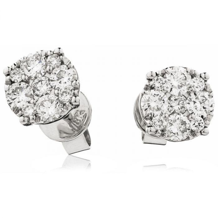 Illusion Pave Diamond Earring Studs