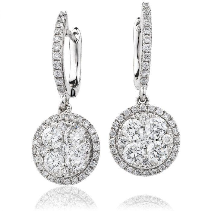 Halo Pave Drop Hoops Diamond Earrings
