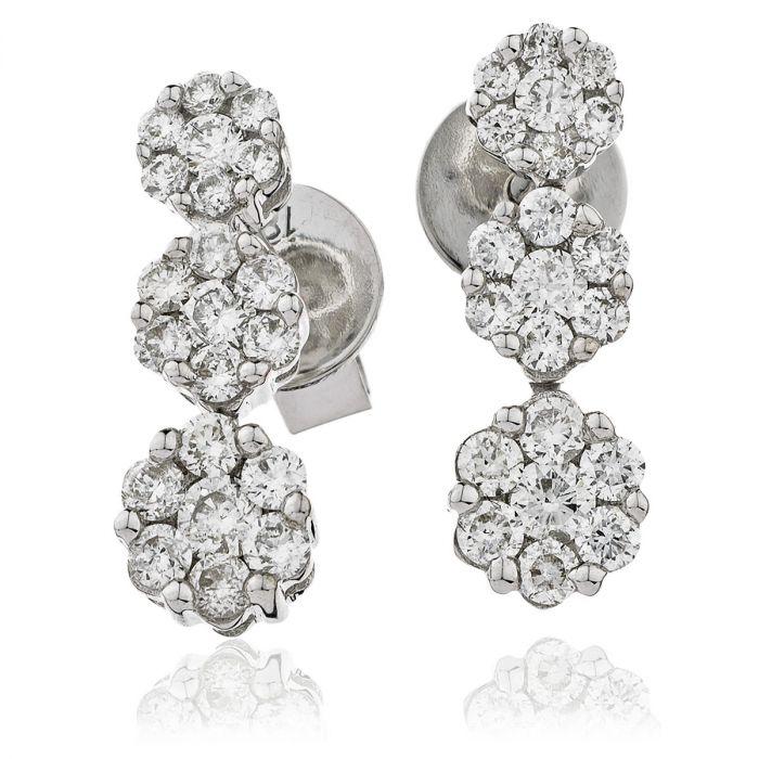 Small 3 Round Shape Pave Diamond Drop Earring
