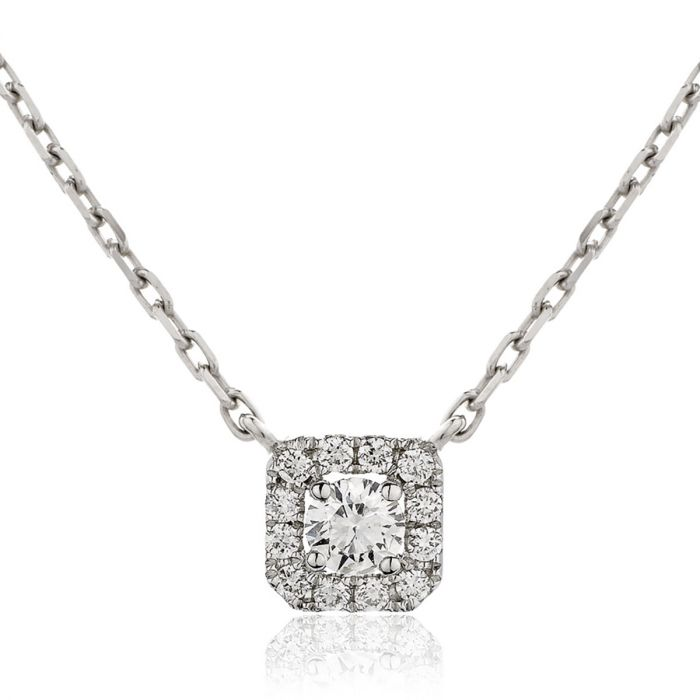 Square Halo Diamond Pendant