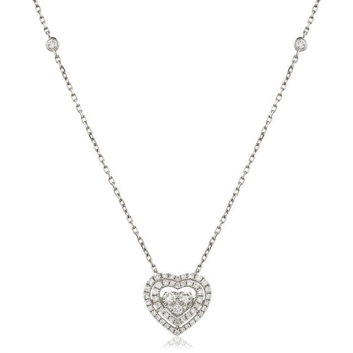 Chain Double Halo Heart Diamond Pendant