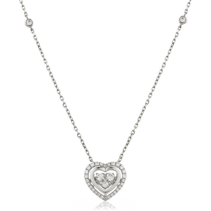 Fixed Diamond Set Chain Heart Halo Diamond Pendant