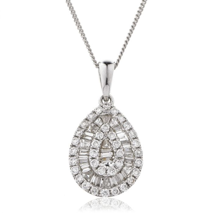 Pear Shaped Small Round Baguette Cut Diamond Pendant