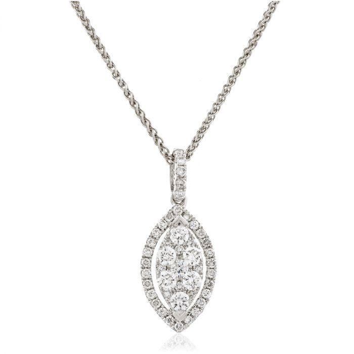 Leaf Shaped Open Halo Pave Diamond Pendant